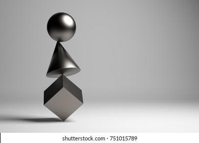 3D illustration. Zen figures. Balance concept