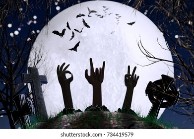 3D illustration of zombie hands from tombs on a full moon background