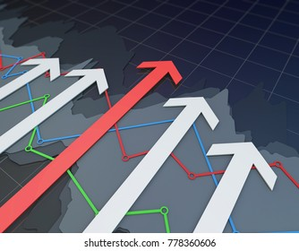 3D illustration,Financial wealth, stock market data, successful arrows, access to wealth success