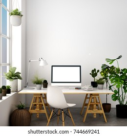 3d illustration,interior design for working table in modern style with chair, table,plant on wood floor and white concrete wall  and window views with relaxing natural forest
