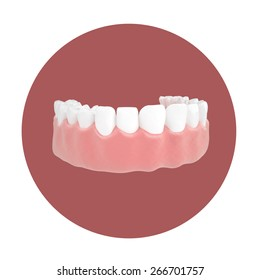 3d illustrations of the lower jaw in a red circle