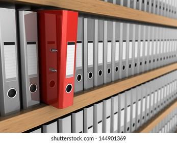 3d illustrations of one red folder taken off the shelf