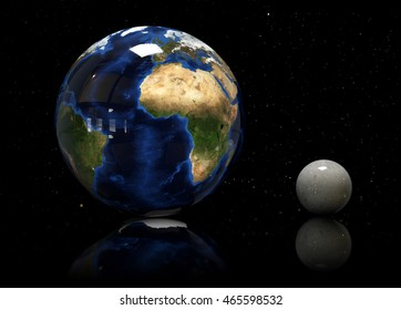 3d Illustrator of Earth, moon and star. Elements of this image furnished by NASA.