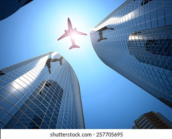 3d image of airplane and tall skyscraper
