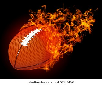 """3D image american football ball in fire isolated on dark red background. """"3D illustration"""""""