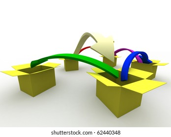 3d image of arrows jumping from box to box