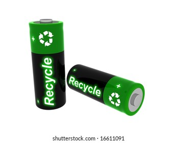 3D Image of batteries with  the word recycle on their labels.
