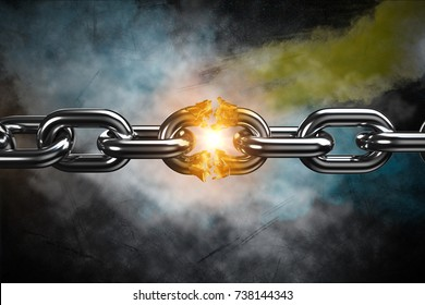 3d image of broken silver metal chain  against black background
