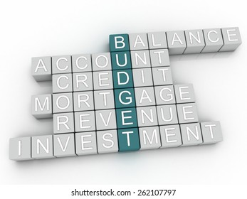 3d image BUDGET  issues concept word cloud background
