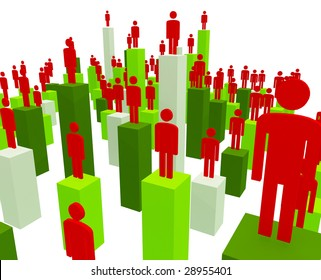 3d image of business people and stat methaporic image team work