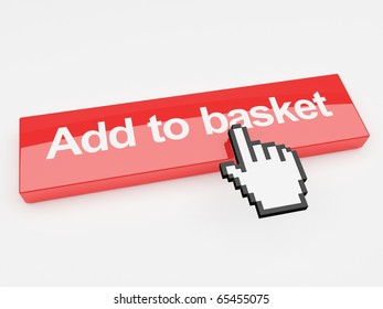 A 3d image of a button with add to basket printed on its face with a mouse pointer.