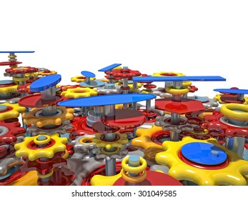 3d image of colorful toy gear on white