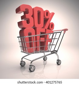 3D image concept of promotion, rebate on your purchases. Clipping path included.