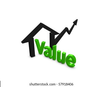3d image, Concept rising property value, isolated over white background