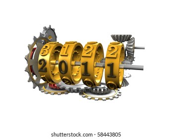 3d image, Conceptual mechanical year counter, new year 2011