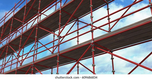 3d image of construction scaffolding against blue sky with clouds
