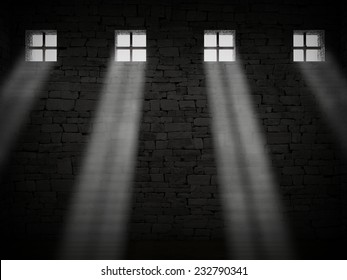3d image of dark jail and bright window