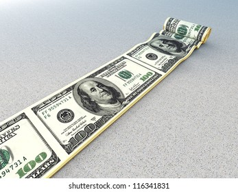 3d image of dollar rolling carpet