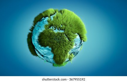 3D image of Earth globe made of water and grass growing on outlines on continents. Concept of nature and environment.