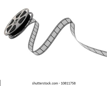A 3D image of a film reel and film strip