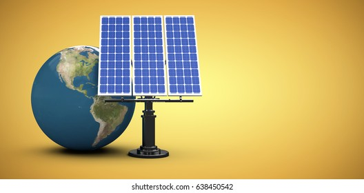 3d image of globe with solar panel against yellow vignette