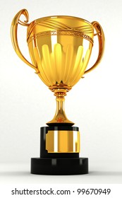 3d image of gold trophy against white background