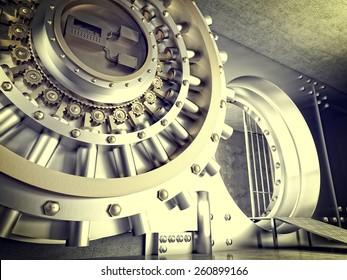 3d image of huge vault door
