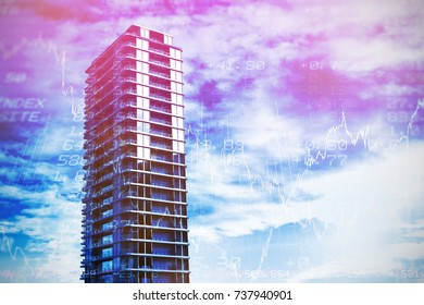 3d image of office buildings  against stocks and shares