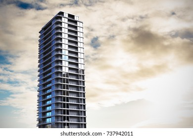 3d image of office buildings  against cloudy sky over countryside