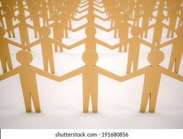 3d image of paper men united
