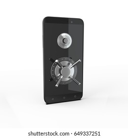 3d image  phone with a safe lock
