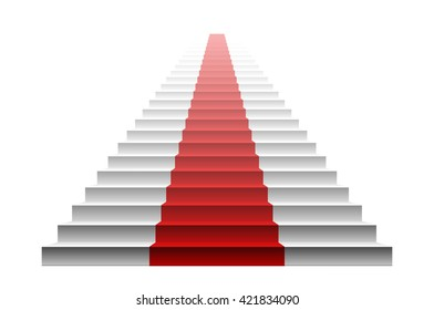 3d image of red carpet on white stair. stairs red art