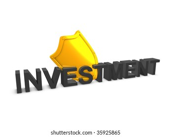 3d image, Shield, investment protection, over white background