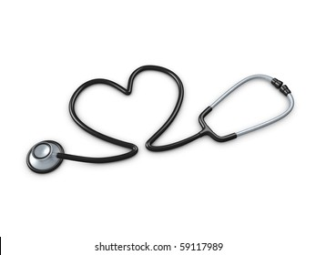3d image, stethoscope with heart shaped tube. isolated over white background