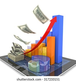 3d image of tablet money and financial chart
