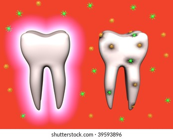 A 3d image of teeth. One iis protected, another with caries.