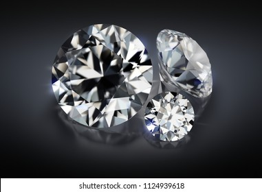 3d image. Three diamonds on a dark reflective background.