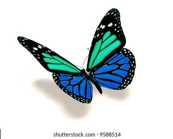 A 3D image of a turquoise and blue butterfly.