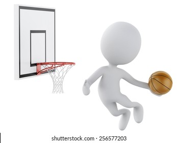 3d image. White people playing basketball trying to score. Isolated white background