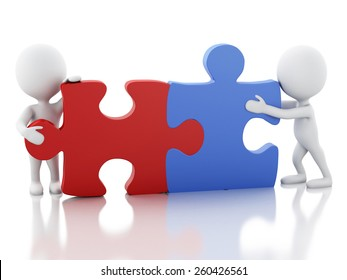 3d image. White people work together with puzzle piece. Team concept. Isolated white background