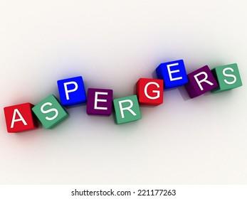 3d imagen Aspergers, scognitive behavior and autism spectrum.