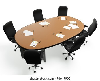 3D images: a large round table with chairs in a circle on a white background