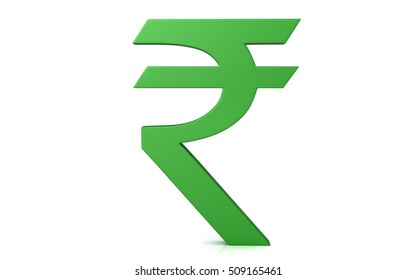 3D Indian rupee symbol isolated on a white background