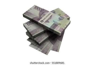 3D Indonesian rupiah money white background