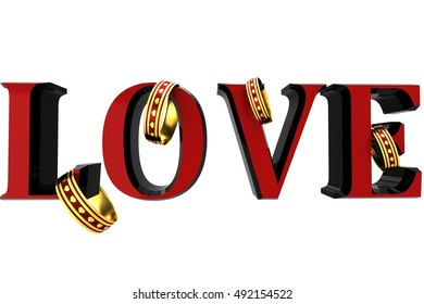 3D Inscription love with rings