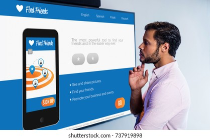 3D interface of chat application against thoughtful man looking over whiteboard