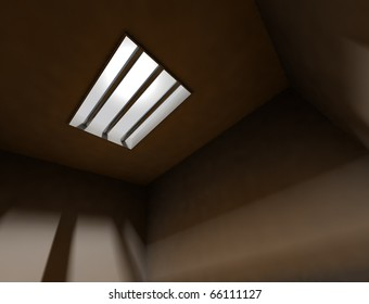 3d interior arquitecture background with bars of a jail