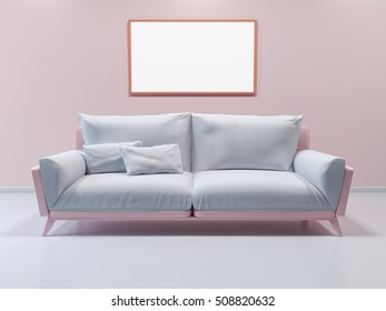3d interior mockup,framed poster on wall. Sofa in the room in pastel colors. 3d rendering. 3d illustration