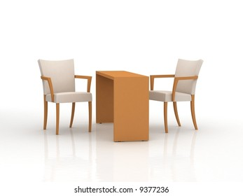 3d interior with modern table and chair