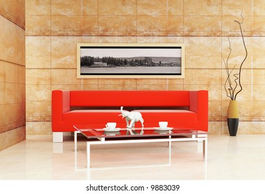 3d interior with modern table and red sofa